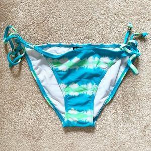Blue & green tie dye tie-side bikini bottoms